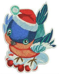 Bullfinch and rowan tree branch embroidery design