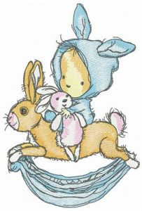 Bunnies are favourite toys embroidery design