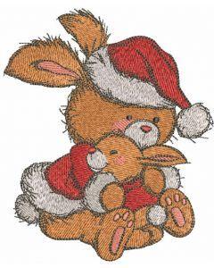 Bunnies Christmas hugs embroidery design