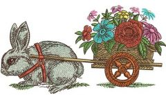 Bunny and cart with flowers embroidery design