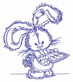 Bunny baking cookies 3 embroidery design