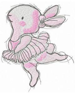 Bunny ballerina embroidery design