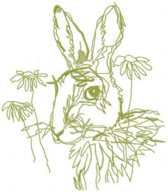 Bunny flower sketch free embroidery design