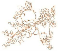 Bunny hanging on tree branch embroidery design
