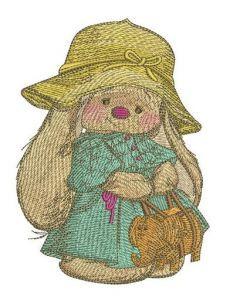 Bunny Mi with elephant handbag embroidery design