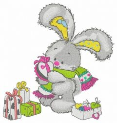 Bunny opens gifts embroidery design