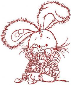 Cute bunny redwork 2 embroidery design