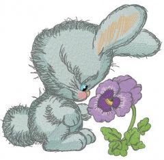 Bunny smells heartsease embroidery design
