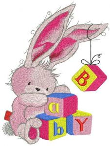 Bunny toy with BABY cubes embroidery design