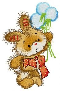 Bunny with bouquet of dandelions embroidery design