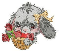 Bunny with gift basket embroidery design