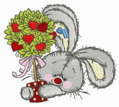 Bunny with love tree embroidery design