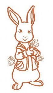 Bunny with radish 4 embroidery design