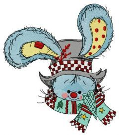 Bunny with stylish top hat embroidery design