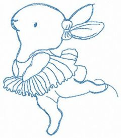 Bunny's ballet embroidery design