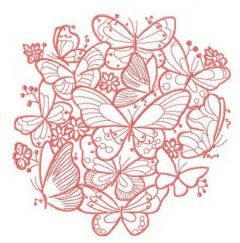 Butterflies and field flowers embroidery design