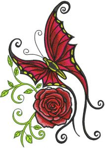 Butterfly and rose embroidery design