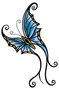 Butterfly flutters embroidery design