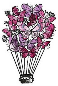 Butterfly hot air balloon embroidery design