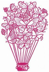 Butterfly hot air balloon 2 embroidery design