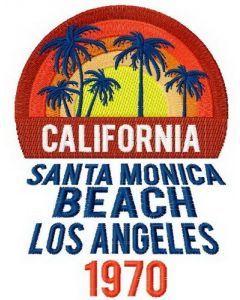 California Santa Monica beach embroidery design