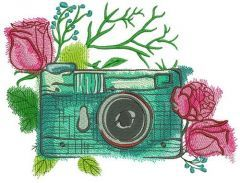 Camera and roses embroidery design