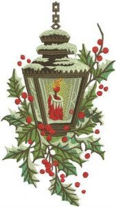 Candle in snowy lantern embroidery design