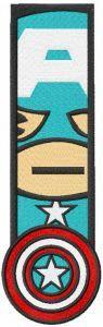Captain America chibi bookmark embroidery design