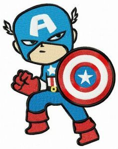 Captain America retreats embroidery design