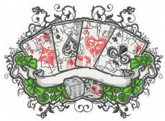 Cards and dices embroidery design