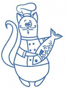 Chef cat 11 embroidery design