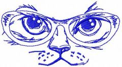 Cat in glasses 2 embroidery design