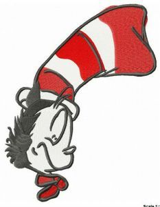 Cat in the Hat sleeping embroidery design