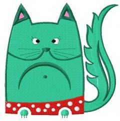 Cat in polka dot pants embroidery design