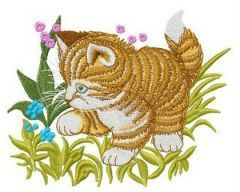 Cat playing in grass embroidery design