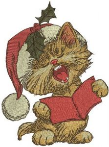 Cat sings Christmas carols embroidery design
