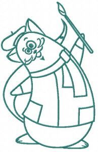 Cat the painter 2 embroidery design