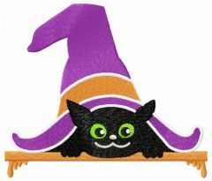 Cat under the hat embroidery design