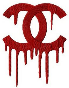 Chanel drip logo embroidery design