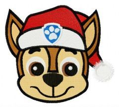 Chase in Santa hat embroidery design