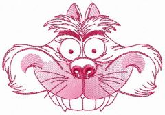 Cheshire cat hat sketch embroidery design