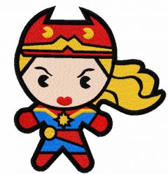 Chibi Captain Marvel embroidery design