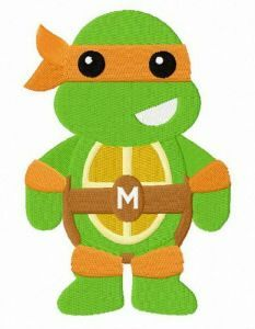 Chibi Michelangelo embroidery design