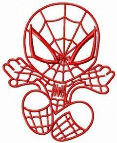 Chibi Spiderman attacks 2 embroidery design
