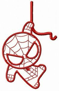 Chibi Spiderman watching you embroidery design