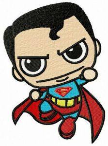Chibi superman attacks embroidery design