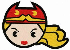 Chibi Wonder Woman head embroidery design