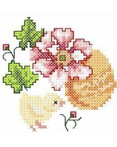 Chicken flower egg embroidery design