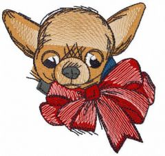 Chihuahua with bow free embroidery design