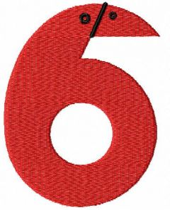 Child number six embroidery design